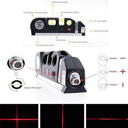 TILY Mehrzweck-Laser Level Laser Maßnahme Line 8 ft + Maßband Lineal Angepasst Standard und Metrisches Herrscher