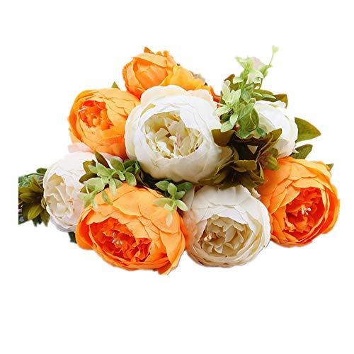Jun7L 13 Heads Weinlese-künstliche Rosen-Pfingstrose-Silk Blumen-Blumenstrauß für Hochzeits-Hauptdekoration - Orange weiß