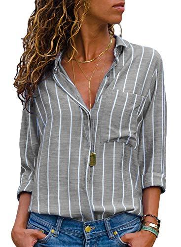 AitosuLa Bluse Gestreift Damen Hemd Oberteile V-Ausschnitt Lose Casual Chiffon Langarm T-Shirt Top Tunika Elegant Langarmshirt Streifen Grau Weiß XXL -