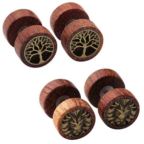 Image of Zysta 2-4 Pairs Wooden Stud Earring Vintage Stainless Steel Fake Ear Gauge 10MM Earrings Ear Plugs Lion Piercings Hypoallergenic Screw