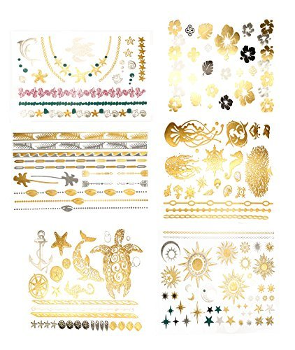 Tropical Hawaiian Temporary Metallic Tattoos - Over 75 Tattoos in Gold Silver (6 Sheets) Terra Tattoos Aja Collection