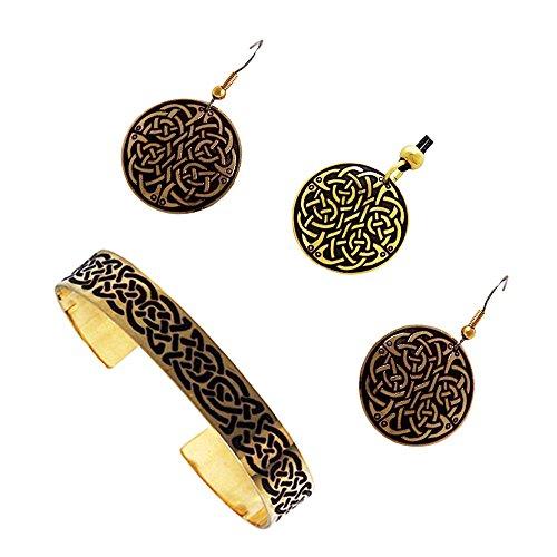 Handcrafted ottone inciso, Celtic Knot, pendente rotondo orecchini di modo Bangle Set
