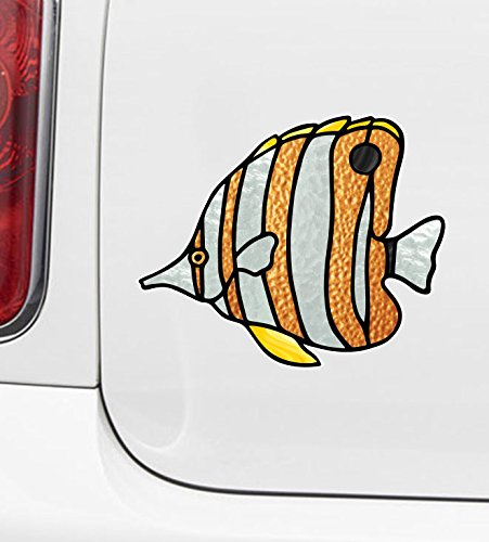 Stained Glass Fish (Tropical Fish - Clownfish - Clown Fish - Stained Glass Style - Opaque Vinyl Car Decal - Copyright (Size Choices) (MD 5