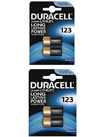 4 x CR123 3V Duracell Ultra Lithium Photo Battery -