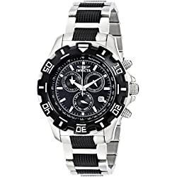 Invicta Men's Quartz Watch with Chronograph Display and Black Stainless Steel Bracelet