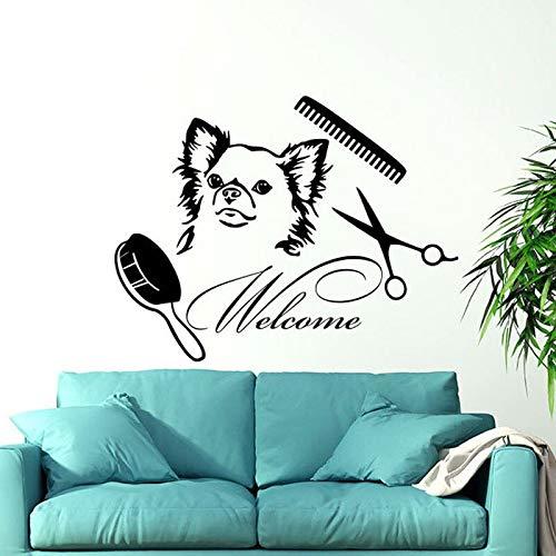 HNXDP Welcome Grooming Salon Adesivo murale Vinile Decorazioni per la casa Cane Negozio di animali Animali Adesivi murali Interior design Art finestra Murales54x42cm