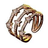 Dosige Damen Ringe Fingerring Schmuck Sterne Design offene verstellbare Eheringe Freundschaftsringe Partnerringe (Gold)