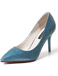 SHOWHOW Damen Glitzer Paillette Stiletto Abendschuh Pumps Blau 35 EU nL6El
