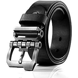 Teemzone diseño hebilla rueda dentada Cinturón hombre Piel de Funda de Cuero Cinturón (Negro 110cm cintura 90-100cm)