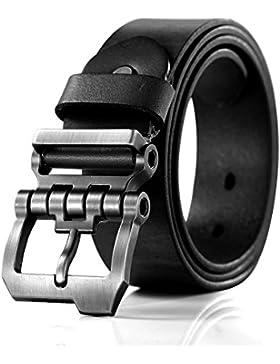 Teemzone Retro Cinturón de Hombre Piel Diseño Hebilla de Perno de Rueda Dentada