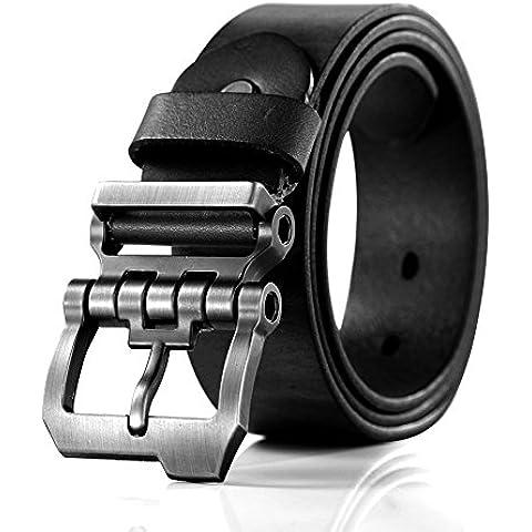 Teemzone diseño hebilla rueda dentada Cinturón hombre Piel de Funda de Cuero Cinturón