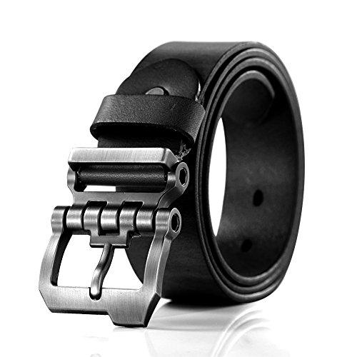 Teemzone diseño de hebilla rueda dentada con Cinturón Piel de Funda de Cuero Cinturón para hombres (Negro 115cm cintura 95-105cm)