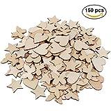 Lictin 150 Stück Holz Scheiben Holz Scrapbooking Herz Stern Schmetterling Holzscheiben, jede 50 Stück, für DIY Handwerk Verzierungen