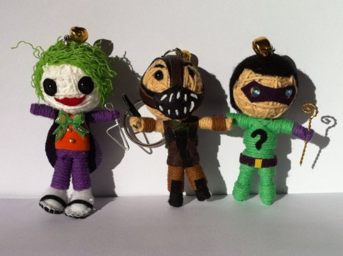 Batman's Villains Triple Set Voodoo String Doll Keychain - The Joker, Bane, The Riddler by String Doll World (Doll String Set)