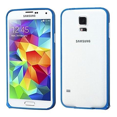 Mybat Surround Shield Coque en métal avec revêtement chromé pour Samsung Galaxy S5–Emballage–Bleu foncé