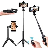 #4: Kwithan Selfie Stick Tripod, 40 inch Extendable Selfie Stick with Wireless Remote and Tripod Stand for iPhone 8/iPhone 8 Plus/X/iPhone 7/iPhone 7 Plus/Galaxy Note 8/S8/S8 Plus & More