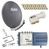 HB-Digital SET: FUBA 8 Teilnehmer Digital SAT Anlage 65cm DAA650A + hochwertiger LNB 0,1dB FULL HDTV 4K + 5/8 Multischalter + 24 Vergoldete F-Stecker Gratis dazu