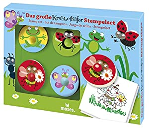 moses. Verlag GmbH 16098Gateo Mariquita de Juego de Sellos, 4Grandes Madera Sello con Mango, para niños a Partir de 4años