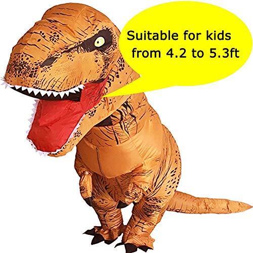 (VAMEI Dinosaurier Kostüm Kinder Aufblasbare T-Rex Kostüm Halloween Kostüm Lustige Party Outfit Mit Kordelzug Geschenk Tasche)