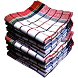 Qualcosa Kitchen - Cleaning Cloth Multipurpose Kitchen Towels Cotton Dish Napkin - Machine Washable - Multi Coloured Dish Towels, Tea Towels, Table Cloth 18x18 Inch (12, Multicolour)