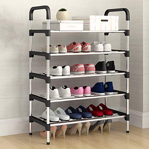 Qinqin666 Shoe Stand Storage Organiser Rack Lightweight Compact Black 5th Floor