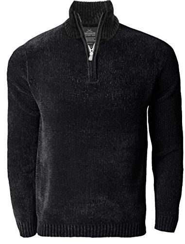 Herren Threadbare Chenille Halb Zip Pullover Strickpullover Top Pullover LEEMING, Schwarz, M (Schwarze Chenille-pullover)