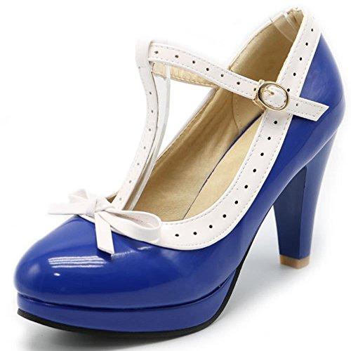 DoraTasia Damenmode Klassische Bowtie Ankle T-Strap Absatz Pumps S¨¹?e Geschlossene Spitzschuh - Royal Blue Bowties