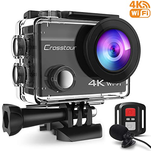 Crosstour 4K Caméra Sport 16MP WiFi Appareil Photo Étanche avec Microphone Externe Caméra Embarquée Stabilisateur...