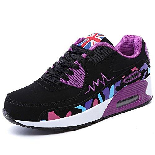 Wealsex Sportschuhe damen Schuhe Freizeit Sneaker Schwarz Violett P