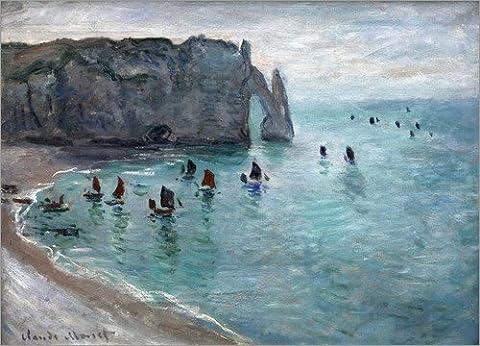 Leinwandbild 80 x 60 cm: Etretat, Porte d'Aval von Claude Monet - fertiges Wandbild, Bild auf Keilrahmen, Fertigbild auf echter Leinwand, (Leinwand Porte)