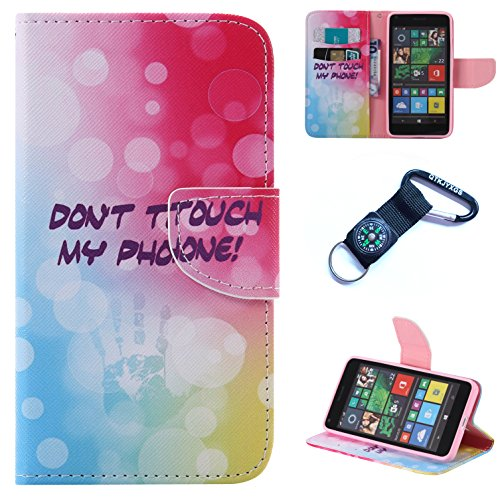 Preisvergleich Produktbild für Nokia Microsoft Lumia N640 Hülle Blume Premium PU Leder Schutzhülle für Nokia Microsoft Lumia 640 / N640 (5,0 Zoll) Bookstyle Tasche Schale PU Case mit Standfunktion+Outdoor Kompass Schlüsselanhänge) (4)