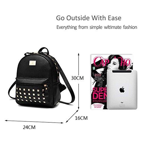 Nicole&Doris New School Taschen Rucksack Frauen Handtaschen Reisetasche Satchel Metall Mode PU-Leder Black