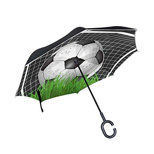Mnsruu - Paraguas invertido Doble Capa Caja fútbol