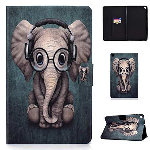 Lspcase Galaxy Tab A 10.1 Zoll 2019 Hülle PU Leder Flip Case Cover Magnetisch Ständer Tasche Tablet Schutzhülle mit Kartenfach für Samsung Galaxy Tab A 10.1 SM-T510 / SM-T515 Baby Elefant