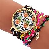 Upxiang Mode Ananas Uhr Analog Alloy Quarzuhr Frauen Bohemian Style Armband Handgelenk (Schwarz)