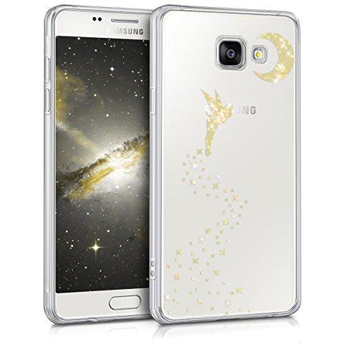 kwmobile Funda para Samsung Galaxy A5 (2016) - Case para móvil en TPU silicona - Cover trasero Diseño Hada Brillo en oro transparente