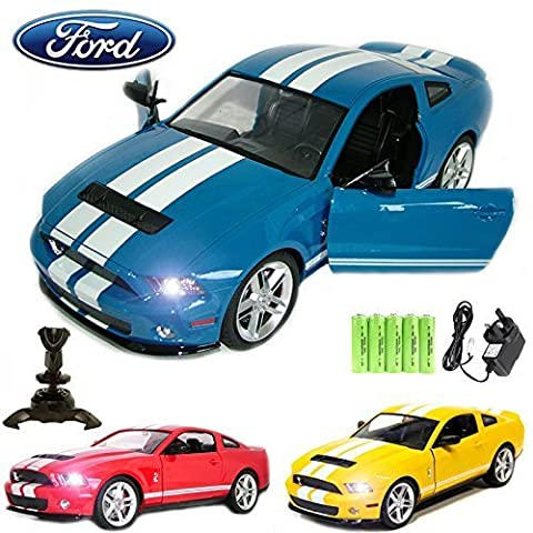 Comtechlogic® CM-2145 Official Licensed 1:14 Ford Mustang Shelby GT500 Radio Controlled RC Electric Rechargeable Car with Opening Doors - Ready to Run EP RTR – BLUE
