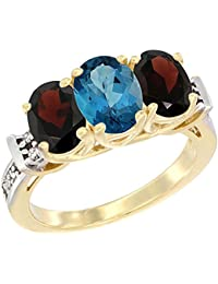 14 ct Gelb Gold Natural London Blau Topas & Granat Seiten Ring Ehering Oval Diamant Accent, Größe O