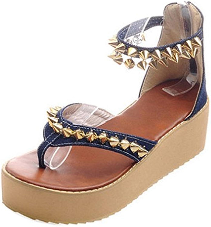 COOLCEPT Damen Mode Durchgangiges Sandalen Nieten 2018 Letztes Modell  Mode Schuhe Billig Online-Verkauf