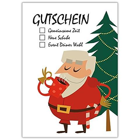 Lustige Weihnachtskarte als Gutschein für gemeinsame Zeit, neue Schuhe oder Event Deiner Wahl mit Weihnachtsmann vor (Familien Gemeinsam Auf Weihnachten)