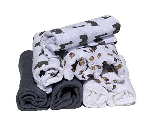 Pippi pippi Premium Mulltücher Set 8 Stück Spucktücher Mullwindeln doppelt gewebt (Dschungel-Stadt grau)