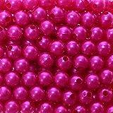 250 x Kunstperle 8mm Perlen Wachsperlen Dekoperlen Bastelperlen mit Loch Kunstperlen, Farbe:pink