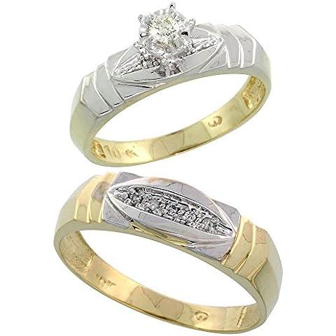 In oro 9 kt, a forma di anello di diamante, 5 mm & Man-Anello nuziale (Oro Giallo Mens Wedding Band)