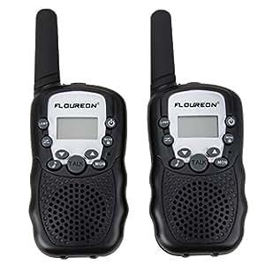 FLOUREON T-388 Paire de Talkie-walkie 8 Canaux UHF400-470MHZ Radio Bidirectionnel Portée 3km 5km Max. Auto Scan Intercom Léger pour Supermarché Centre commerciale Exploration Jouet d'enfant Etc. Noir