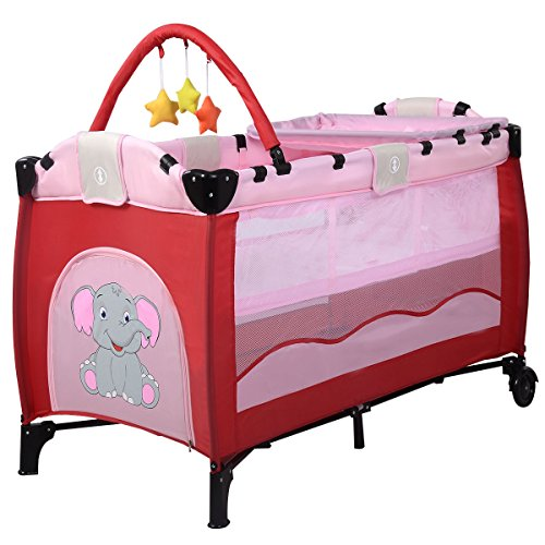 Babybett Kinderbett Kinderreisebett Reisebett Baby Laufstall Klappbett Inkl. Matratze (pink)