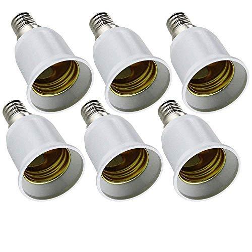 LONGYEE 6x Lampensockel Adapter Konverter E14 Fassung auf E27 Lampensockel für LED-, Halogen-, Energiespar Lampen