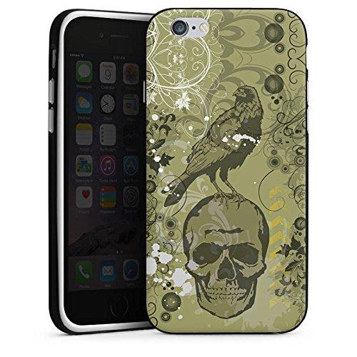 Apple iPhone X Silikon Hülle Case Schutzhülle Rabe Totenkopf Skull Silikon Case schwarz / weiß