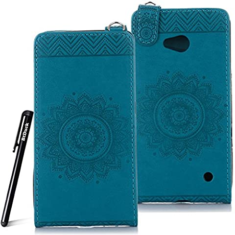 Case for Microsoft Lumia N640 wallet Embossed Flowers case,Nokia Lumia 640 Premium Ceramic pattern flip cover,BtDuck protective case Blue shell Retro Buddhism Solid color special Vertical opening skin Case for Open vertically Holster Full-body protection machine Totem Anti-scratch Shock Resistant Strong magnetic buckle Magnet Closure [with Lanyard Strap / Rope] Credit Card/Cash Holder Slot - Blue