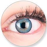 Blaue Kontaktlinsen Mit/Ohne Stärke - Braune Dunkelbraune Schwarze Dunkle Augen - mit Kontaktlinsenbehälter. 2 Farbige Himmelblau 3 Monatslinsen by MeralenS/Glamlens -4.0 Dioptrien