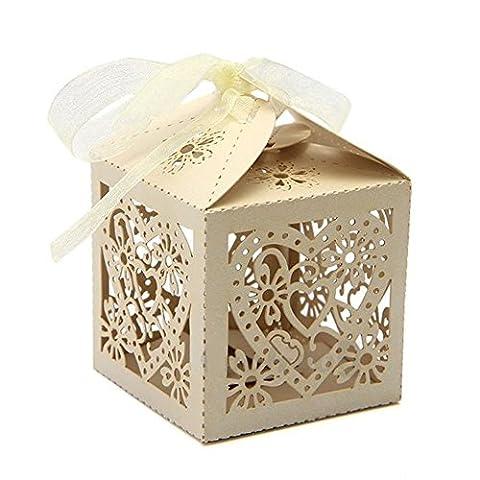 PONATIA 50 PCS Love Heart Laser Cut Candy Boîtes cadeaux avec ruban Party (Beige)